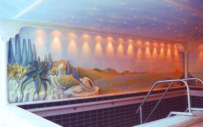3d plastiken und wandmalerei in einem privatbad - Wandmalerei ideen ...